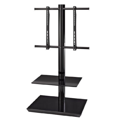 Hama tv-vloerstand met 2 planken, voor 81 – 140 cm diagonaal (32 inch – 55 inch), VESA tot 600 x 400, voor max. 40 kg, zwart