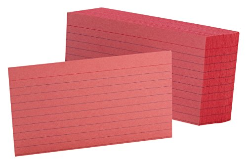 """Oxford Ruled Color Index Cards, 3"""" x 5"""", Cherry, 100 Per Pack (7321 CHE)"""