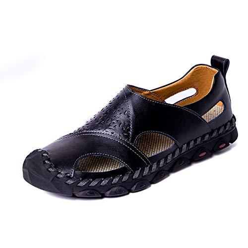 2019 Summer Sandals Men Breathable Genuine Leather Flats Plus Size Casual Beach Men's Shoes,Black,10