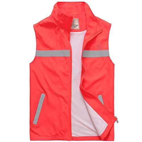 DBL Sicherheitskleidung, Nachtarbeit, reflektierende Reitweste Sicherheitswesten (Color : Red, Size : XL)
