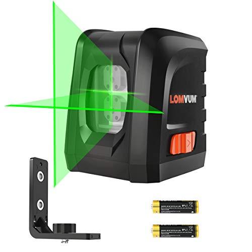 Nivel Láser Autonivelante Verde,LOMVUM LL-DR2-G2 Nivelador de láser Líneas 30M con Base Magnética Flexible, 2 Baterías