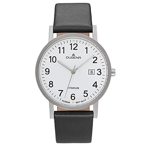 Dugena Titan Herrenuhr mit schwarzem Lederband 5 Bar Datum Weißes Zifferblatt 4460999