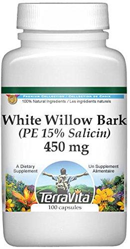 Extra Strength White Willow Bark (PE 15% Salicin) - 450 mg (100 Capsules, ZIN: 512919)