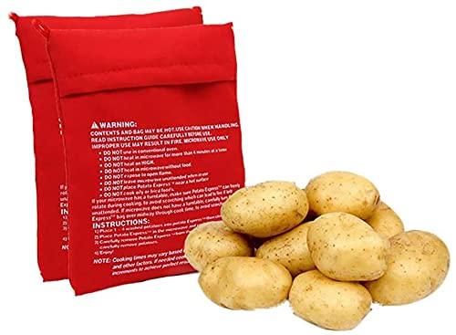 Sacco Cuoci Patate In Microonde,2 PCS Sacchetto per Patate a Microonde Express Sacchetto per Cuocipatate Lavabile e Riutilizzabile Patate al Forno in Soli 4 Minuti