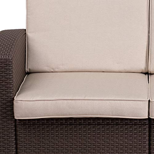 Flash Furniture Chocolate Brown Faux Rattan Loveseat with All-Weather Beige Cushions