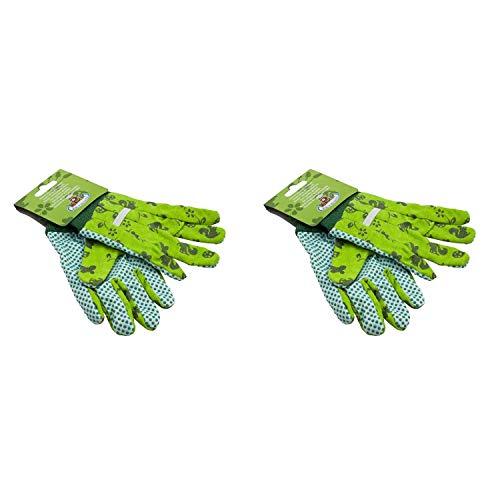 Esschert Design KG110 Kinder-Gartenhandschuhe, mit Noppen, Gemustert, grün (2 Paar)