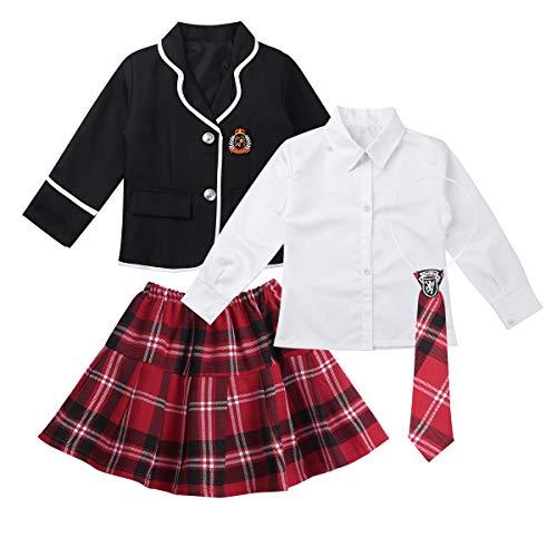 FEESHOW Mädchen Schuluniform Japan Anime Kostüm Set Anzug Jacke Mini Karierter Rock mit/ohne Hemd Krawatte Kinder Chor Party Schule Cosplay Outfit Schwarz 140-152