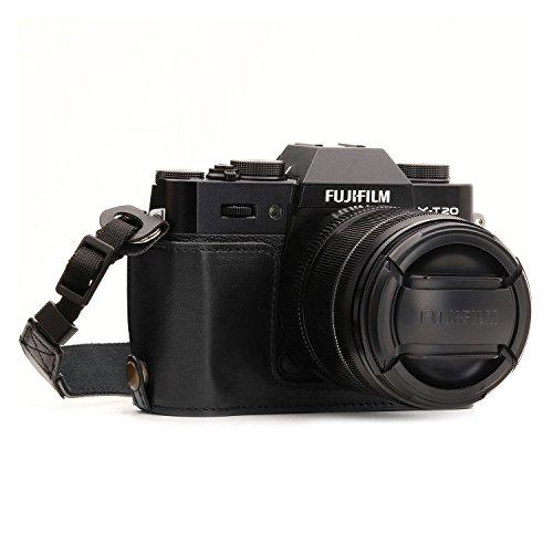 MegaGear MG957 Ever Ready Custodia metà copertura in ecopelle per Fotocamera compatibilie con Fujifilm X-T30, X-T20, X-T10 - Nero