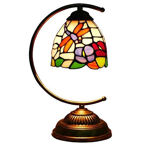 JMFHCD Tiffany Schreibtischlampe Retro 6 Zoll Glasmalerei Tischlampe Antiker Libelle Nachttischlampe Mit Eisenbasis, für Wohnzimmer Schlafzimmer Couchtisch Nachtlicht, E27*1