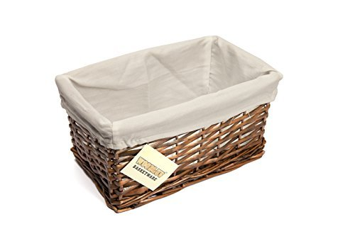 WoodLuv Small Wicker Storage Basket with White Lining, Dark Brown by Elitehousewares