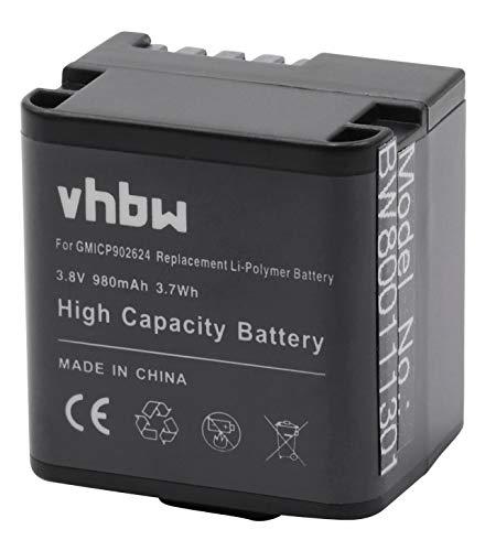 vhbw Li-Polymer batería 980mAh (3.8V) para videocámara cámara de Video actioncam Garmin Virb X, X Compact, XE por 010-12256-01, 361-00080-00.