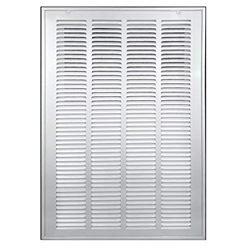 20' X 25' Steel Return Air Filter Grille [Removable Face/Door] for 1-inch Filters HVAC Duct Cover Grill, White | Outer Dimensions: 22 5/8'W X 27 5/8'H for 20x25 Duct Opening