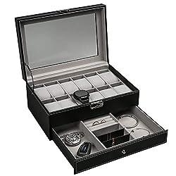 Ogrmar 12 Slot PU Leather Lockable Watch Storage Boxes, Men & Women Jewelry Display Drawer Case, 2-Tier Organizer Watch Showcase with Glass Lid