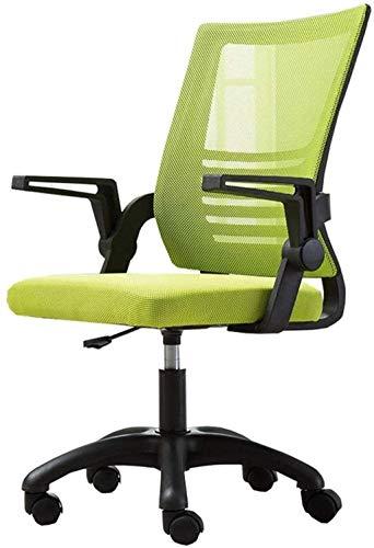 LIUBINGER Silla de Oficina Silla de Oficina Silla ergonómica de Escritorio, Silla de Oficina de computadora con Soporte Lumbar de reposabrazos de Flip-up, Altura Ajustable (Color : Green)