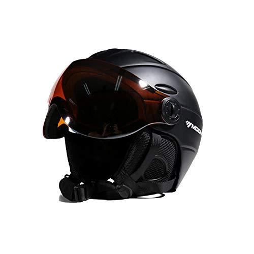 EnzoDate 2-en-1 Visera esquí Snowboard Casco máscara de Nieve Desmontable antivaho Anti-UV Integrado Gafas Protectoras bajo Peso Adultos Hombres Mujeres
