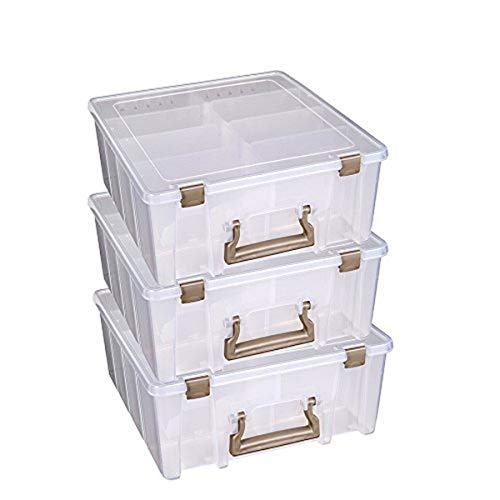 ArtBin 6990ZZ Super Satchel Double Deep 3-Pack, Portable Art & Craft Organizers with Handles, [3] Plastic Storage Cases, Clear with Rose Gold Accents, Clear & Gold, 3 Count