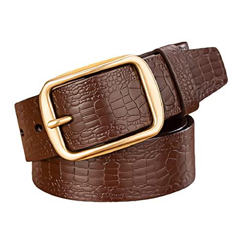 zdz Cinturón de los Hombres,1.5'Cinturón de Cuero de Agujero expandido Reversible de la Hebilla de Cobre Puro de 1.5',cinturón de Vestir de Trabajo de Jeans Casual for Hombre