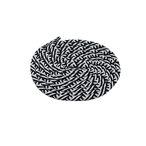 El cordón Redondo de 5m m Rayada Cordones de poliéster Cuerdas Hombres Mujeres Zapatilla de Deporte Chamred Shoestrings para Adultos, 3481black-blanco, 70cm