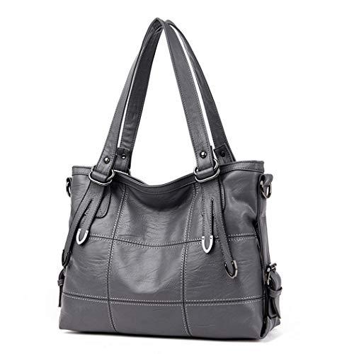 AINUOEY Damen Handtaschen Frauen Schultertaschen Umhängetaschen PU-Leder Bowlingtaschen Grau