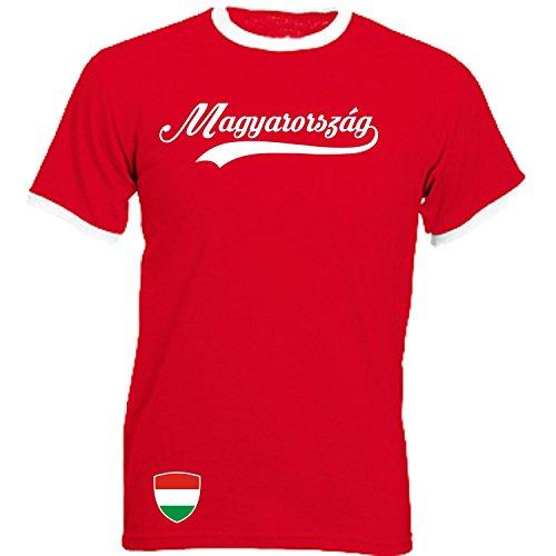 Ungarn - Ringer Retro TS - rot - EM 2016 T-Shirt Trikot Look Hungary Magyarország (M)