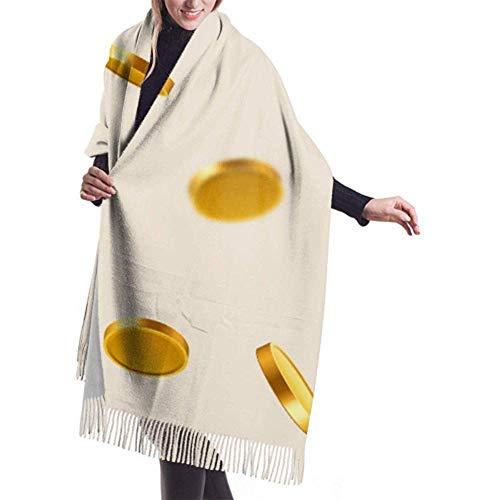 Womens Winter grote sjaal kasjmier sjaal voelen vallen munten vallen geld vliegen gouden sjaal stijlvolle sjaal wraps zachte warme deken sjaal voor vrouwen 27x78 inch