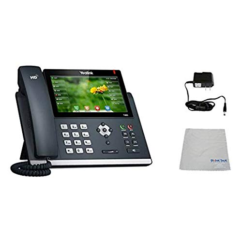 Yealink T48G SIP POE Office Phone Bundle with Power Supply and Microfiber Cloth   Requires VoIP Service - Vonage, Ring Central, 8x8, Mitel or Cloud Services (T48G Basic Bundle)