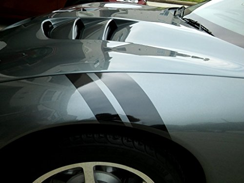Clausen's World 2 and 3 Inch Fender Hash Mark Bars Carbon Fiber Vinyl Racing Stripes Decals, Fits Chevy Corvette C5, Both Sides, Black