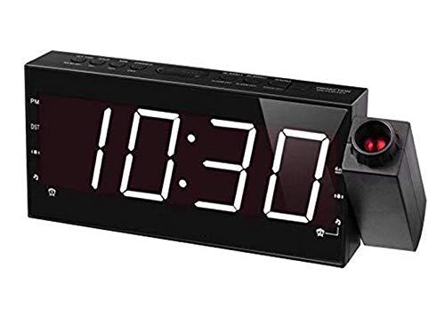 Projectie wekker, slaapkamer, plafond, keuken, bureau, muur, reis, thuis, AM FM-radio, 3 dimmer, USB-oplaadpoort, en back-up accu-instellingen