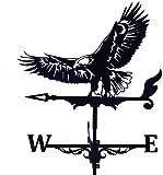 Alnicov Vaneta de metal para clima de animales, color negro vintage, indicador de dirección de viento hueco para jardín al aire libre, decoración de techo de paddock para veleta meteorológica (Eagle)