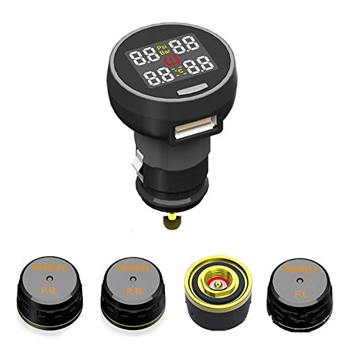 Bester der welt DJG Autoreifendrucküberwachung, drahtloses TPMS-Reifendrucküberwachungssystem + 4 Minisensoren,…