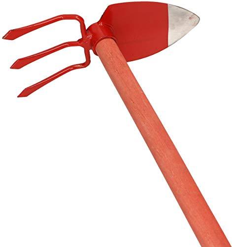 KOTARBAU® Gartenhacke Herzblatt 135 x 100 mm 3 Zinken 107 mm mit Stiel 120 cm Gartenhacke Unkrauthacke Pflanzhacke Gartenwerkzeug zum Umpflanzen Jäten Gartenpflege