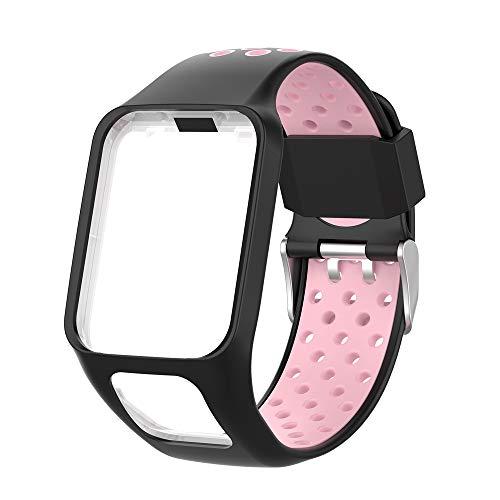 KINOEHOO Cinturino Compatibile con TOMTOM Runner 2/3 Cardio/Music Spark Cardio/Music Spark 3 Cinturini di Ricambio in Silicone.(rosa nero)