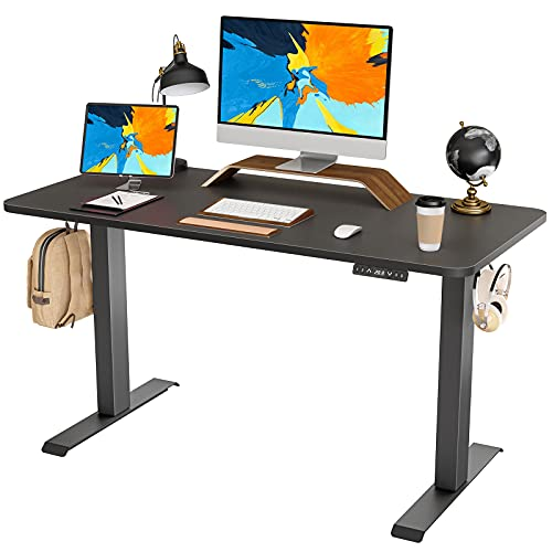 FAMISKY Dual Motor Adjustable Height Electric Standing Desk, 48 x 24 Inches Stand Up Home Office Desk with Splice Tabletop, Black Frame/Black Top