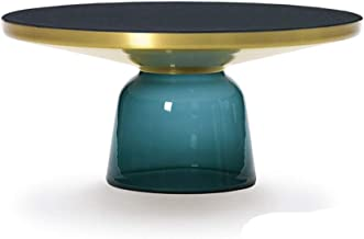 JSZMD Simple Tempered Glass Coffee Table Classical Retro Vase Round Tempered Glass Table (Color : Blue, Size : Big)