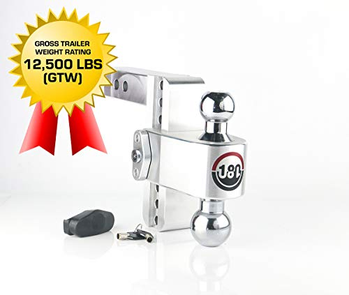 """Weigh Safe 180 HITCH CTB6-2 6"""" Drop Hitch, 2"""" Receiver 12,500 LBS GTW - Adjustable Aluminum Trailer Hitch Ball Mount & Chrome Plated Combo Ball, Dual Pin Keyed Lock"""