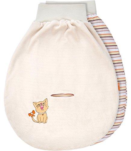 Be Mammy Baby Pucksack Strampelsack Schlafsack Autositz aus Baumwolle mit breitem Bund BE20-137 (Ecru/2133_10 - Katze)