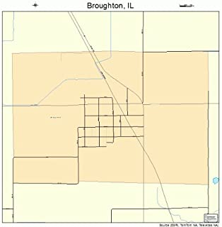 Large Street & Road Map of Broughton, Illinois IL - Printed poster size wall atlas of your home town