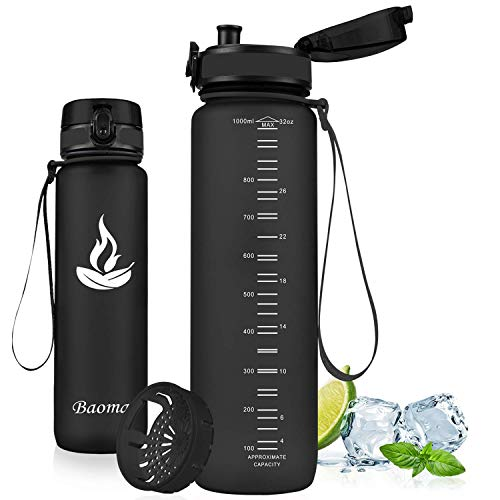 Baomay Trinkflasche Sport mit Sieb, BPA-Frei Auslaufsichere Wasserflasche 750ml, Kunststoff Sportflasche Fahrrad Für Kinder, Schule, Outdoor, Camping, Fitness, Yoga, Gym, Wasser Flasche aus Tritan