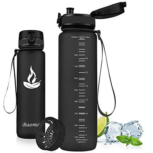 Baomay Botella de Agua Deportiva 1000ml, Adultos/Niños Bottle con Filtro, Bidon de Bebidas Plástico Tritan, para Gimnasio, Ciclismo, Trekking | Sin-BPA & Impermeable & Reutilizable (Negro)