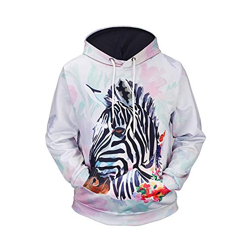 Tzzdwy Paar kleding herfst en winter trui digitale 3D trui zebra print hooded trui mannelijke hoodie