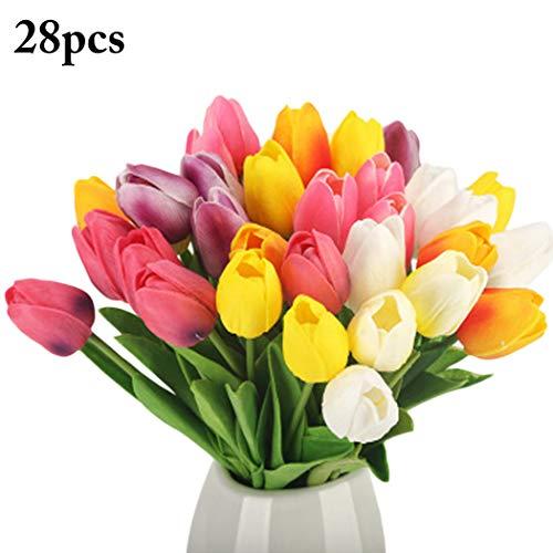 Bageek Tulipán Artificial, 28 Piezas Flor Artificial Decorativa Realista Falsa Tulipán Flor Falsa para el hogar