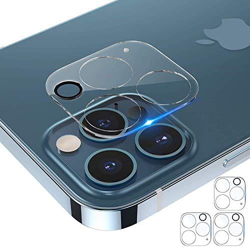 Protector de pantalla para cámara Tensea compatible con iPhone 12 Pro de 6,1 pulgadas, protector de lente de cámara de vidrio templado, transparente HD, cubierta completa de borde a borde, amigable con funda (3)