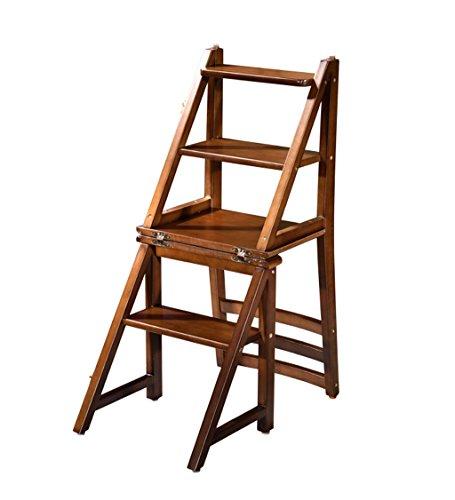 GYH Marchepieds Accueil Échelle pliante multifonctionnelle en bois - Chaise d'escalier de ménage Échelle pliante Échelle pliante Échelle multifonction Échelle double usage Tabouret haut en bois de cao