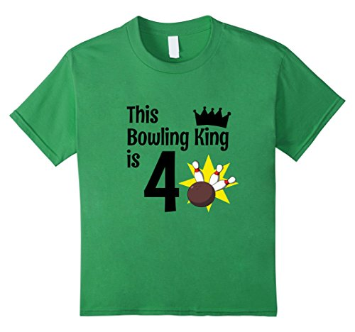 Kids 4 Year Old Bowling Birthday Party 4th King Birthday T-Shirt 4 Grass