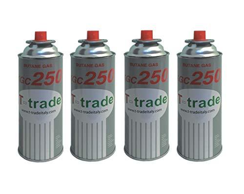 Hoge kwaliteit 4 stuks - cartridge gaspatroon GPL 250 g art. KCG250 ideale soldeerbout voor open haard of oven, geschikt voor kamperen, Brunner