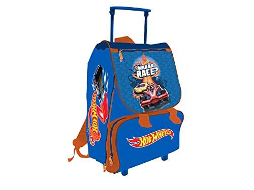 MCM Hot Wheels - Mochila con Ruedas Extensible para niños, 40 cm, Azul
