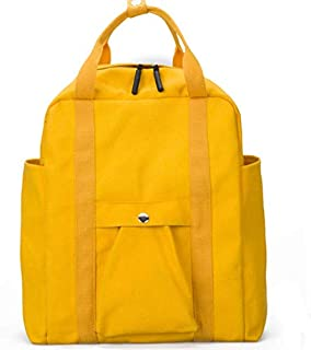 SODIAL Canvas Backpack Female Simple Versatile Travel Backpack Large Capacity Campus Student Bag Yellow