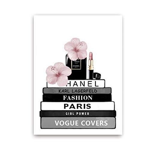 Libro de Moda botella de perfume Poster pared del arte de la lona de pintura de la acuarela Vogue Fotos impresiones for la sala de estar Decoración ( Color : PH5143 , Size (Inch) : 40x50 cm No Frame )