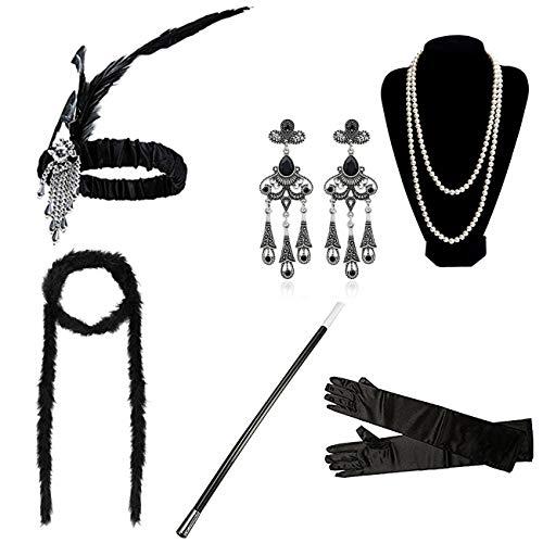 DRESHOW 1920s Accesorios Set Años 20 Fiesta Disfraz Gran Gatsby Diadema, Collar, Guantes,Pendientes, Porta Cigarrillos para Mujeres