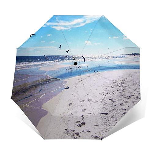 Windproof Travel Folding Umbrella Automatic Beach Sea Bird Gulf, Large Rain Folding Compact Umbrella Portable Fast Drying with Auto Open Close Button